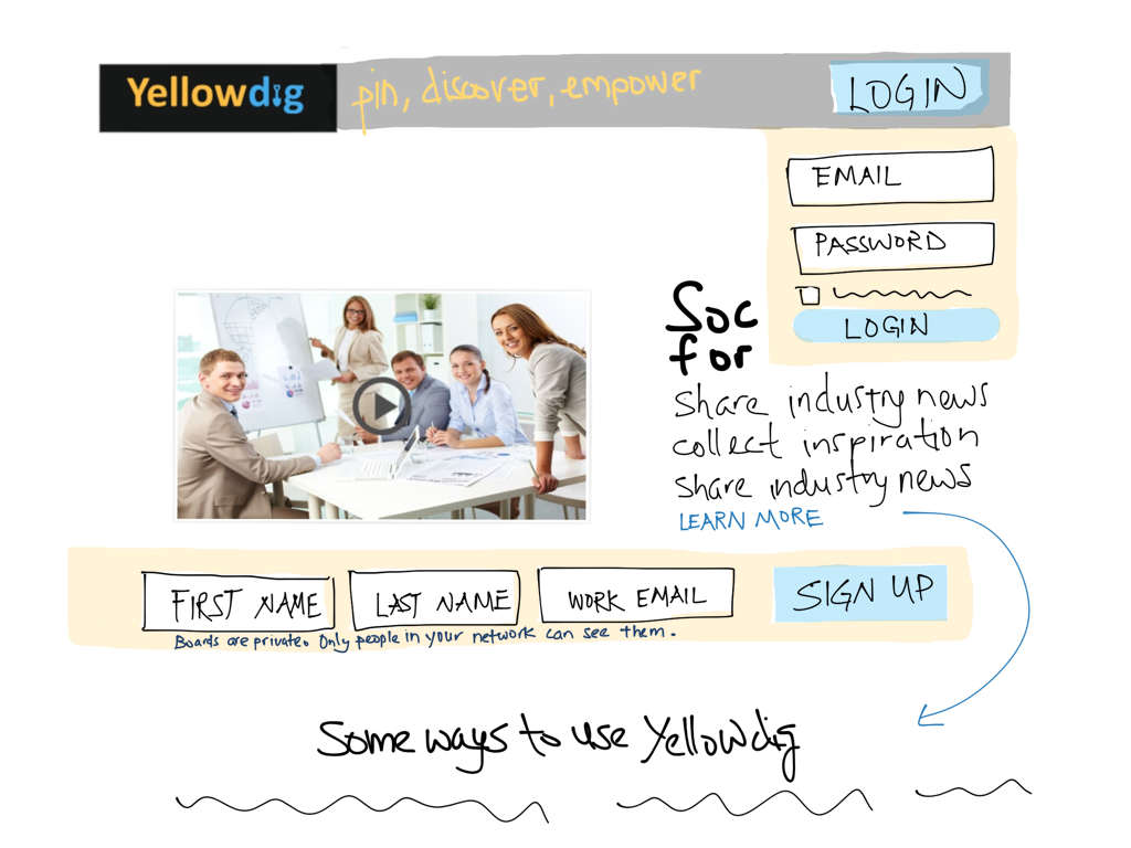 Yellowdig home sketch - login
